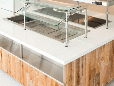 Quartz, Glass, Reclaimed Wood and Stainless Steel by Diamond Group